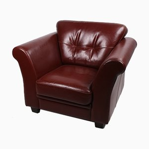 Deep Red Bovine Leather Armchair