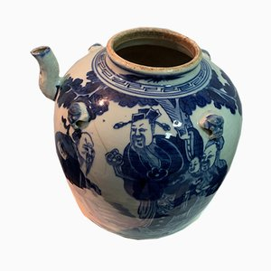 18th Century Chinese Cobalt Blue Glazed Porcelain Teapot with Characters