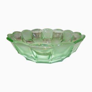 Vintage Art Deco Uranglas Schale von Niemen Glassworks
