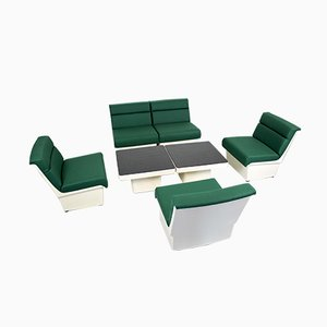 M8/G5 White Polyester Living Room Set from Gispen, 1970s, Set of 7