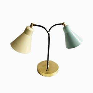 Italienische Tischlampe mit 2 Schirmen, 1950er