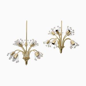 Floral Brass and Glass Sputnik Pendant by Emil Stejnar for Rupert Nikoll, 1950s