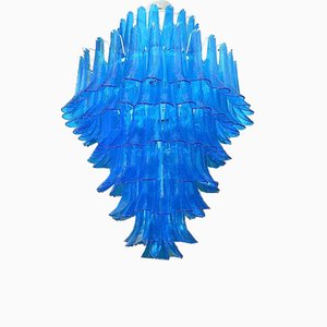 Mid-Century Round Blue Murano Glass Chandelier from Mazzega, 1970s