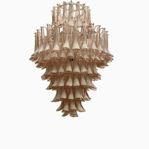 Mid-Century Round Light Pink and White Murano Glass Chandelier from Mazzega, 1970s