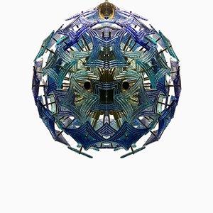 Mid-Century Sputnik Green and Blue Murano Glass Chandelier, 1990s