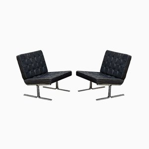 F60 Sessel aus Leder & verchromtem Stahl von Karl-Erik Ekselius für JOC Vetlanda, 1960er, 2er Set