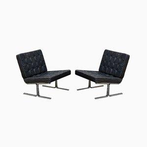 Leather & Chromed Steel F60 Lounge Chairs by Karl-Erik Ekselius for JOC Vetlanda, 1960s, Set of 2