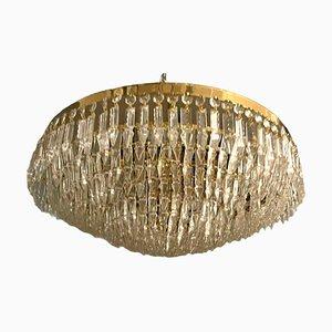 Große Bleikristall Deckenlampe, 1970er