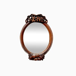 Antique Oval Mirror with Carved Wooden Frame
