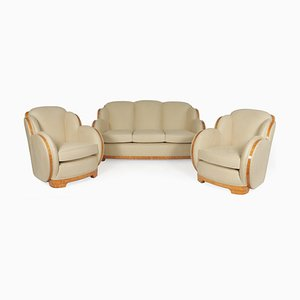 Art Deco Sycamore Cloud Suite Sofas by Harry and Lou Epstein, 1930s, Set of 3