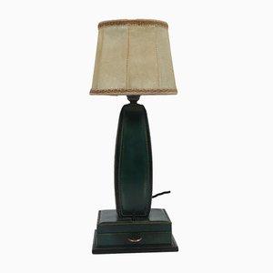 Französische Tischlampe aus genähtem Leder von Jacques Adnet, 1950er