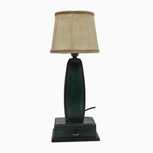 French Stitched Leather Table Lamp by Jacques Adnet, 1950s
