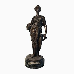 Bronze Statue with Black Marble Base by Auguste Moreau, 19th Century