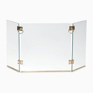 Brass Firewall with 3 Glass Panels by Jacques Adnet, 1940s