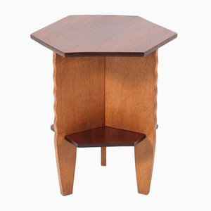 Oak and Mahogany Art Deco Amsterdam School Side Table, 1920s