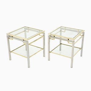 Brass and Steel Couch End Tables by Guy Lefevre for Maison Jansen, 1970s, Set of 2