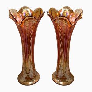 Carnival Glass Vases, 1930s, Set of 2