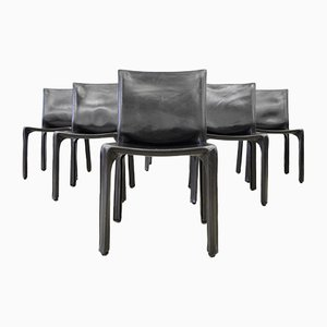Black Leather Cab 412 Dining Chairs by Mario Bellini for Cassina, 1980s, Set of 6