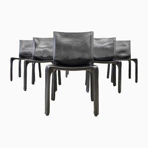 Chaises de Salon Cab 412 en Cuir Noir par Mario Bellini pour Cassina, 1980s, Set de 6