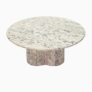 Large Round Sicilian Marble White Coffee Table, 1970s