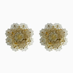 Brass and Crystal Glass Flower Ceiling Lamps from Ernst Palme, 1970s, Set of 2