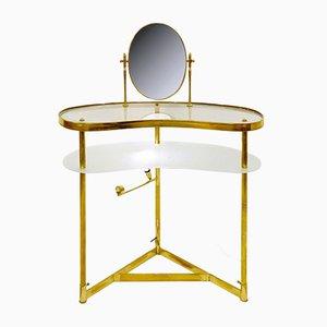 Italian Brass, Glass & Mirror Side Table by Luigi Brusotti, 1940s