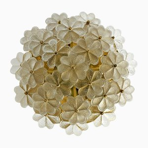 Brass and Crystal Glass Flower Ceiling Lamp from Ernst Palme, 1970s