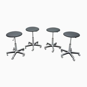 Aluminum & Leather Bar Stools from Olymp, 1970s, Set of 4