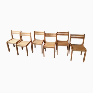 Buchenholz Esszimmerstühle, 1980er, 6er Set