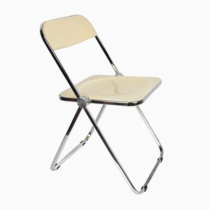 Weißer Mid-Century Plia Stuhl von Giancarlo Piretti für Castelli / Anonima Castelli