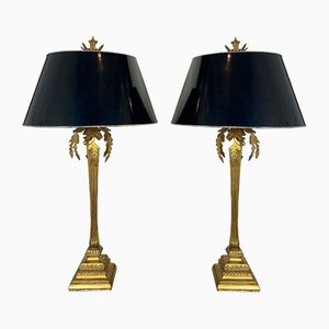 Large Italian Gilt Metal Table Lamps Decorated with Leaves, 1970s, Set of 2
