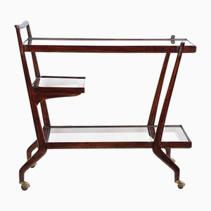 Mid-Century Italian Mahogany 3-Tier Bar Trolley by Paolo Buffa, 1950s