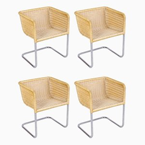 Bauhaus Tubular Steel & Wicker D43 Cantilever Chairs from Tecta, 1960s, Set of 4