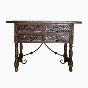 20th-Century Spanish Carved Walnut Console Table