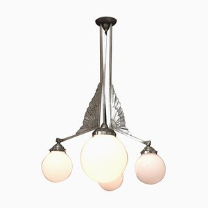 Tall Art Deco French Pendant Lamp with 4 Opaline Shades, 1930s