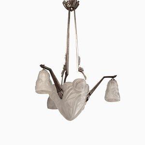 French Art Deco Pendant Lamp by David Gueron for Verrerie D'Art Degué, 1930s