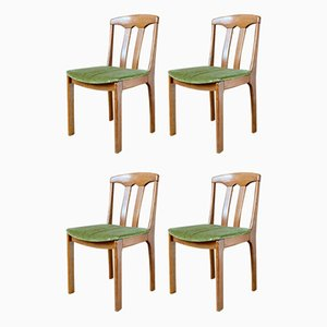 Scandinavian Oak & Velvet Dining Chairs, 1960s, Set of 4