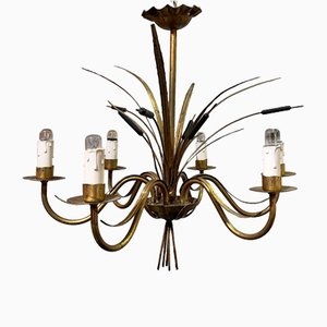 Golden Wrought Iron Ceiling Lamp, 1960s