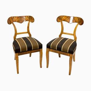 19th Century Biedermeier Walnut Shovel Chairs, Set of 2