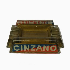 Französischer Vintage Art Deco Glas Cinzano Aschenbecher