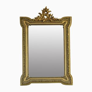 Antique 19th Century French Gilt Wall Mirror with Overmantle Crest