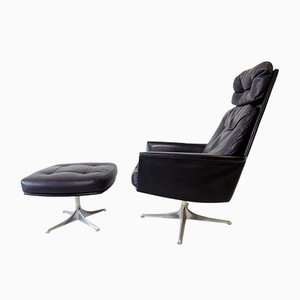Black Leather Armchair & Ottoman by Horst Brüning for Cor, 1960s, Set of 2