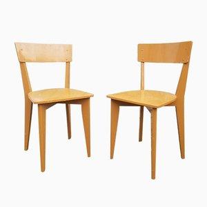 Französische Lackierte Esszimmerstühle aus Holz, 1950er, 2er Set