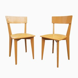 French Painted Wooden Dining Chairs, 1950s, Set of 2