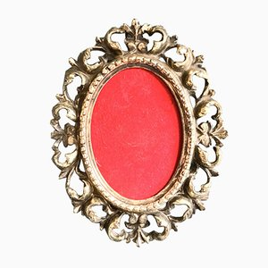 Mid-Century Rococo Style Silver Metal Picture Frame