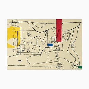 Lithographie Le Corbusier, Cortège Planche 3, Lithographie par Mourlot Paris, 1970s