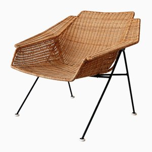 Mid-Century Wicker Lounge Chair, Sweden, 1950s