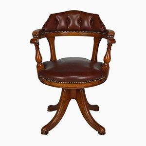 Sedia da ufficio Chesterfield vintage in legno e pelle