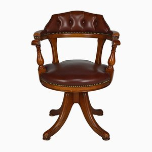 Vintage Chesterfield Style Wood and Leather Office Swivel Chair