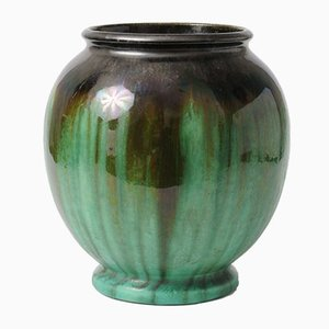 Antique Green Glazed Ceramic Vase from Faiencerie Thulin